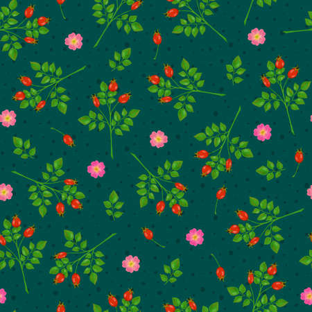 Seamless pattern with dogrose flowers, rosehip and branches on green background with dots Stock Photo