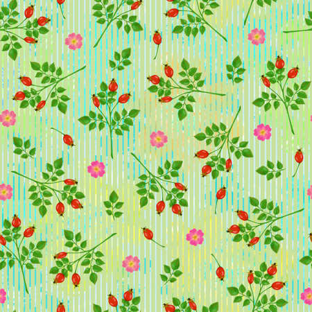 Seamless pattern with dogrose, roses and green branches on colorful light green background
