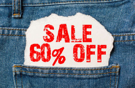 Sale 60 off on white paper in the pocket of blue denim jeans