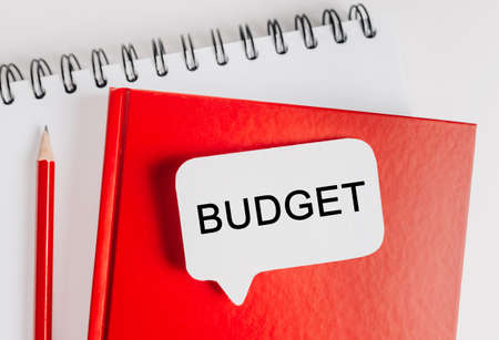 Text Budget on a white sticker with office stationery background. Flat lay on business, finance and development concept