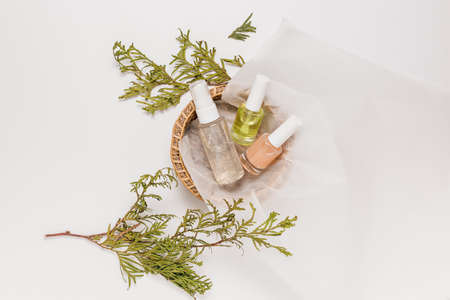 Organic cosmetics with plant. Flat lay, top view clear glass pump bottle, brush jar, moisturizing serum jar in a paper basket on a white background. Natural cosmetics SPA