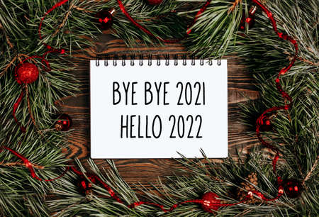 Merry christmas and merry new year concept with text Bye bye 2021 Hello 2022