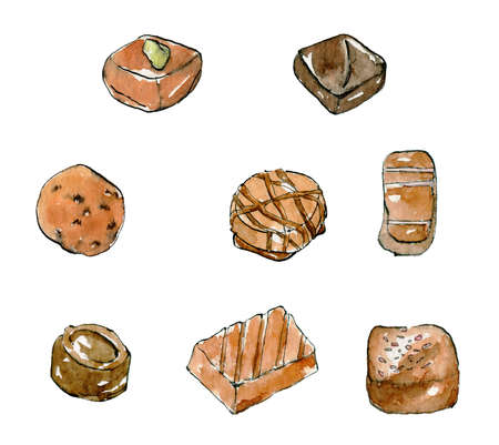 Watercolor Illustration set of chocolate candies with ink, drawn by hand isolated on a white background.