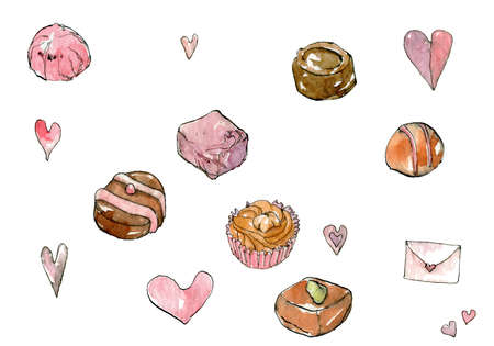 "Elegant muted color watercolor illustrations with ink, ""Valentine's day"" with hearts and chocolate candies isolated on a white background."