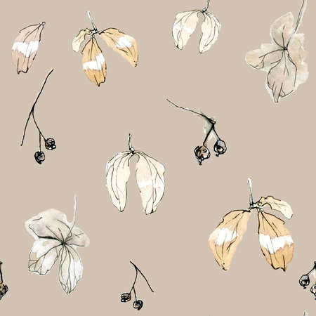 Seamless pattern pastel watercolor floral pattern - biege leaves and petals. Elegant dried flowers on a light beige background. Perfect for wrappers, wallpapers, postcards, greeting cards, events, wedding invitations, romantic events Stockfoto
