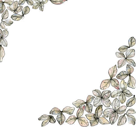 Laid-back watercolor illustration corners of delicate pastel, beige sketch hydrangea petals, border with copyspace, isolated on a white background.