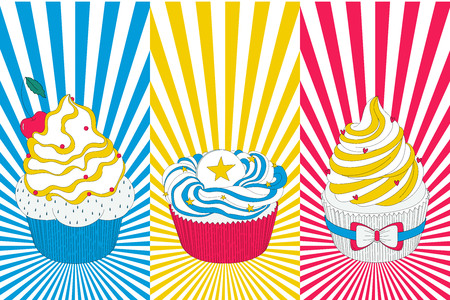 cake background: Vector pop art cupcake in bright yellow, blue and red colors. Use it for your menu, invitation, websight and other kind of designs. Illustration