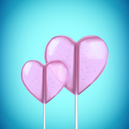 hard candy: Vector realistic 3d heart shaped hard candy on stick Illustration