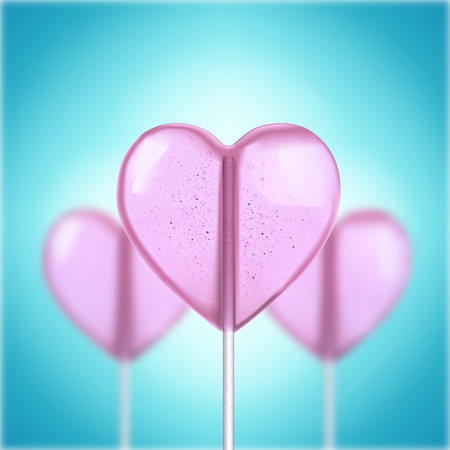 3d heart: Vector realistic 3d heart shaped hard candy on stick Illustration