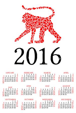 simbol: Illustrazione vettoriale di scimmia - il simbolo del 2016. Vettoriali