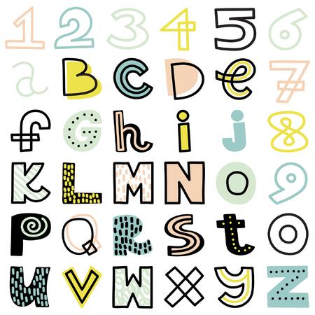 drown: hand drown alphabet. Summer mood. Cute colors.