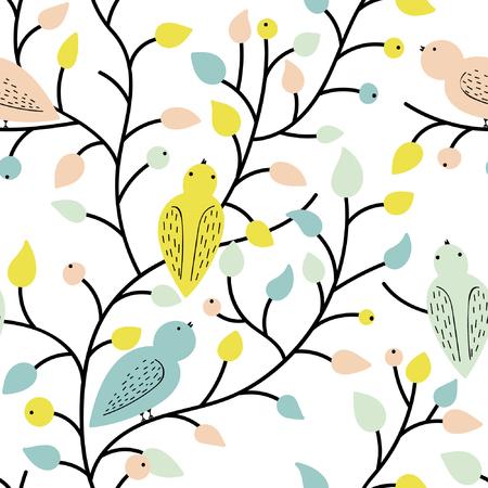 Elemente Von Vögeln, Blumen, Blätter Und Früchte. Sommerstimmung ...