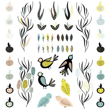 Nahtlose Muster. Sommerstimmung. Pflanzen, Früchte Und Vögel. Nette ...