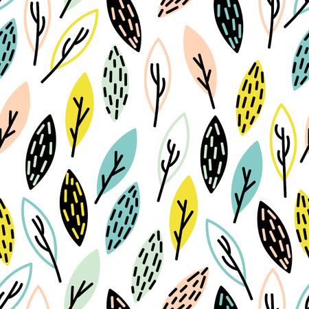 drown: seamless, hand drown leaf pattern. Cute foliage