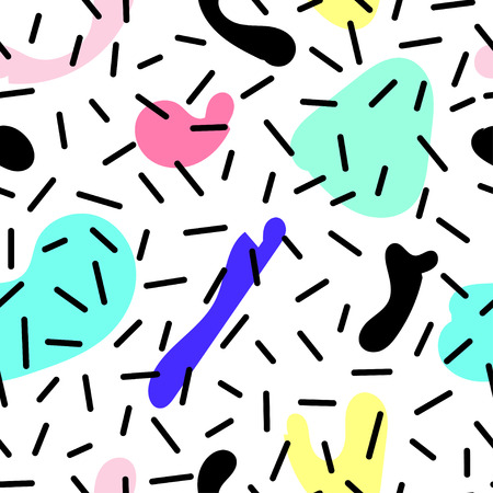 80's: Vector seamless pattern with colorful spots. Memphis Style. Abstract 80s. Bright Colors.