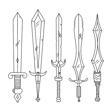 hilt: Vector hand drown set of swords. Isolated illustration. Black and white