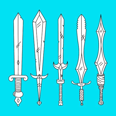 Vector hand drown set of swords. Blue background