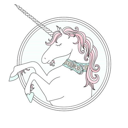ahogarse: Vector mano ahogar linda del unicornio. Los colores pastel
