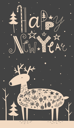 newyear night: Vector illustration of cute deer with christmas balls, bows, branches and stars in the forest. Sign Happe New Year, funny font, black background. Lovely card for the holiday