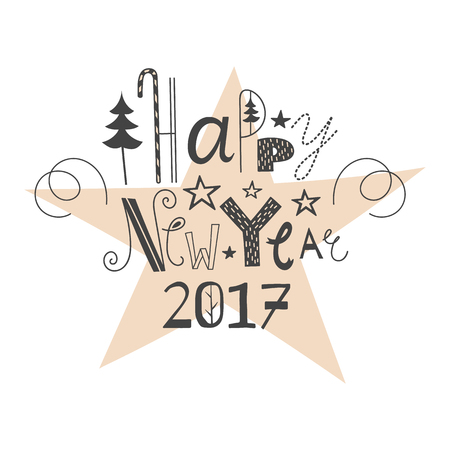 Vector hand drawn lettering sign Happy New Year 2017. Text design for greetings, card, invintations or postcards. Funny hand drawn font. Calligraphy collection.