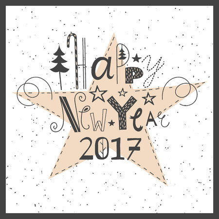 handlettering: Vector hand drawn lettering sign Happy New Year 2017. Text design for greetings, card, invintations or postcards. Funny hand drawn font. Calligraphy collection.
