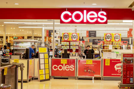 Sydney, Australia 2020-04-27: Exterior view of Coles supermarket during the COVID-19 pandemic Editöryel