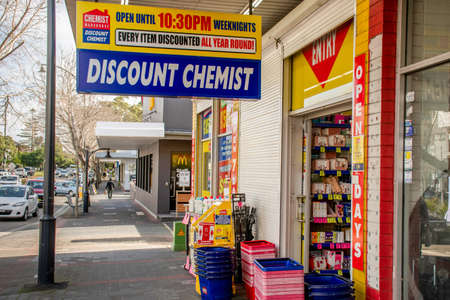 Sydney, Australia 2020-06-28 Chemist Warehouse sign above the entrance to the drug store in Caringbah, NSW. Chemist Warehouse is a large discount chemist chain with stores throughout Australia