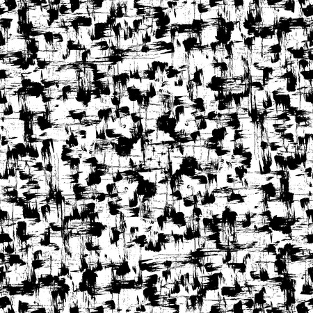 inky: Seamless pattern of random brush strokes and stains. Hand drawn inky texture. Illustration