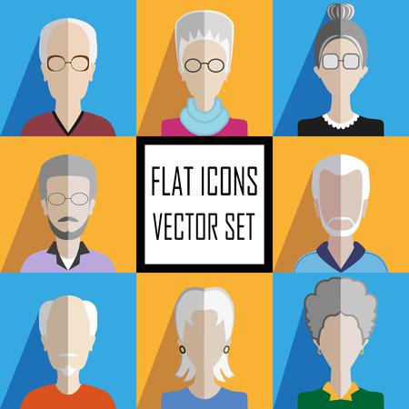 simbolo uomo donna: Anziani icone set. I personaggi icone di stile piatte per applicazioni e web design.