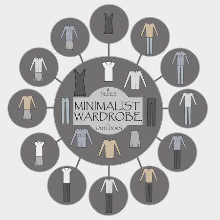 8   12: Minimalist wardrobe info graphic. 8 pieces and 12 outlooks.