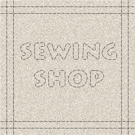 merchandising: Sewing shop. Banner for tailor shop designed with fabric, threads and stitches. Clip art for poster, identity, sticker, business card, promoting and merchandising.