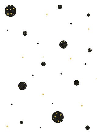 imperfections: Gold and black glittering polka dot seamless pattern on white background. Illustration