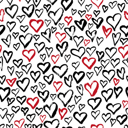 Resumen corazones sin patrón. tinta mano dibujado ilustración sucio. Diseño negro y rojo del grunge. El fichero del vector.