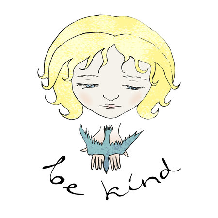 humility: Be kind. Vector illustration of kindness. Girl releasing a bird.