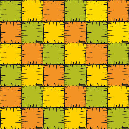 Vector seamless patchy pattern of hand drawn rough squares. Warm colors endless texture.