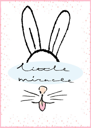 miracle: Little miracle. Hand drawn typography Poster with Rabbit. Greeting card for child.