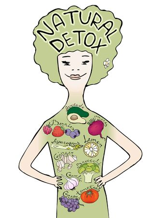 Colorful info graphic of natural detox products. Hand drawn illustration about healthy food. Eco living info graphic. Vector illustration with hand lettering.