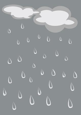 rainy sky: Hand painted rainy sky, raindrops and clouds.