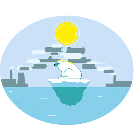 harm: Polar bear suffering of global warming. The harm of industrial pollution. Greenhouse effect. Vector illustration. Illustration