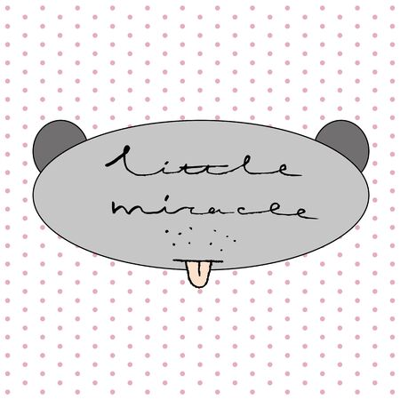 miracle: Little miracle. Hand drawn typography Poster with Toy animal. Greeting card for child.