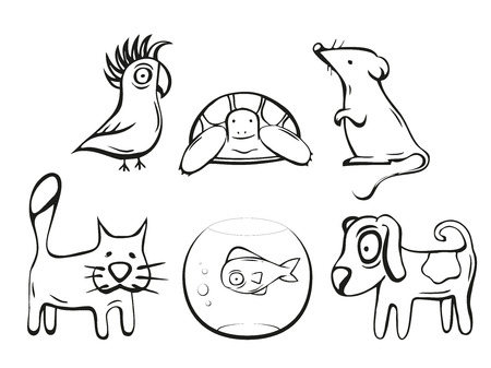 cat and mouse: Pets illustration. Dog, cat, mouse, fish, bird and turtle. Hand drawn vector icons collection. Illustration