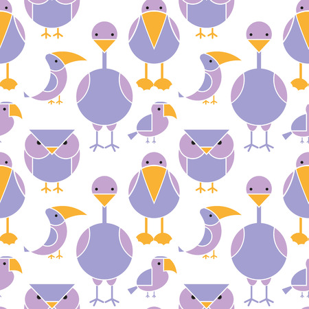 exotic birds: Cute seamless pattern of different birds. Cartoon illustration of exotic birds.
