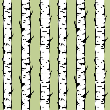 birch forest: Vector seamless background of birch trunkes. Hand drawn trees. Vector illustration of a birch forest.