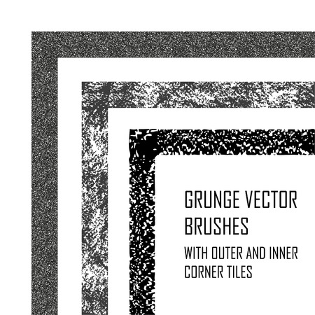 Decorative vector brushes with inner and outer corner tiles. Grunge borders with rough texture. Easily using frames for design.