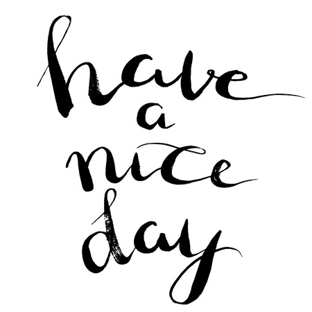 have: Have a nice day. Brush lettering, positive hand drawn quote. Vector illustration. Illustration