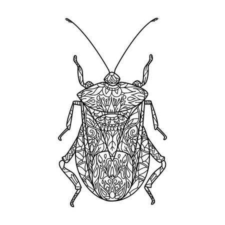Vector illustration of a bug. Vector monochrome coloring page. Contour drawing in  style. Illustration for coloring book. Stock vector.