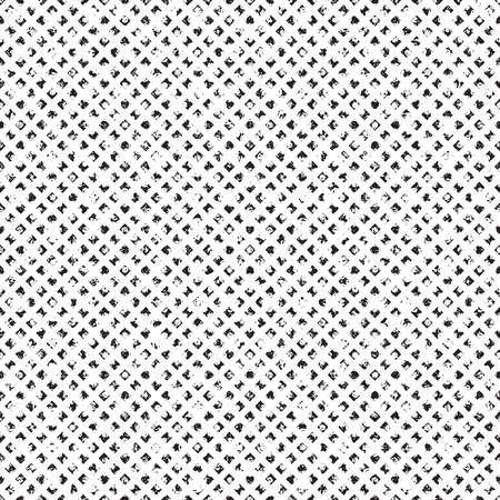 Grungy seamless texture of distorted tiny rhombus arranged in rich noisy grid seamless pattern. Half tone vector texture for shading and texturing.