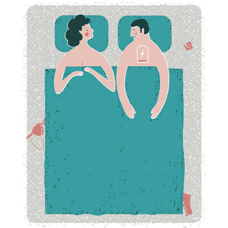 Vector illustration of intimate problem situation in bed . Metaphorical depiction of the erectile dysfunction. Man with the low battery sign.
