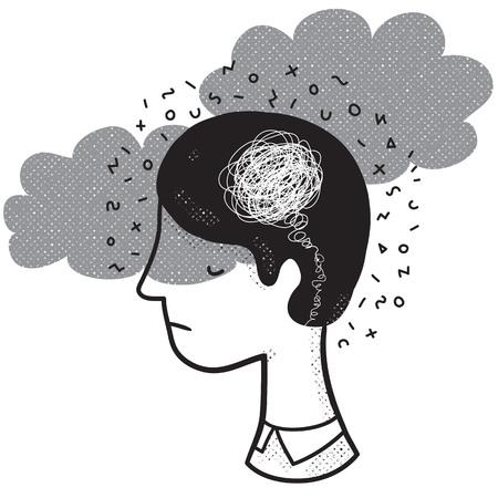Illustration vectorielle d'un homme dans un état d'esprit dépressif. Concept de dépression et de frustration. Oeuvre monochrome dédiée aux problèmes de santé mentale.