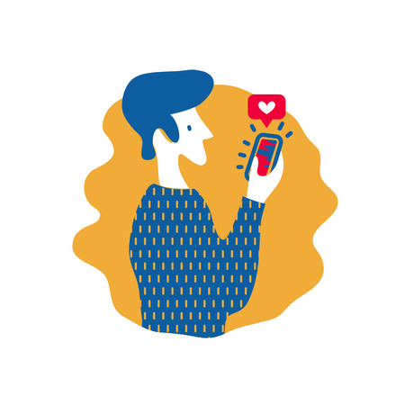 Man gives like on social media mobile app. Vector illustration in flat style about using social networks. Concept of increasing social media engagement. EPS10.